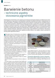 ATLAS Domieszki, pigmenty i dodatki do betonu BARWIENIE BETONU-TECH. ASPEKTY STOSOWANIA PIGMENTÓW