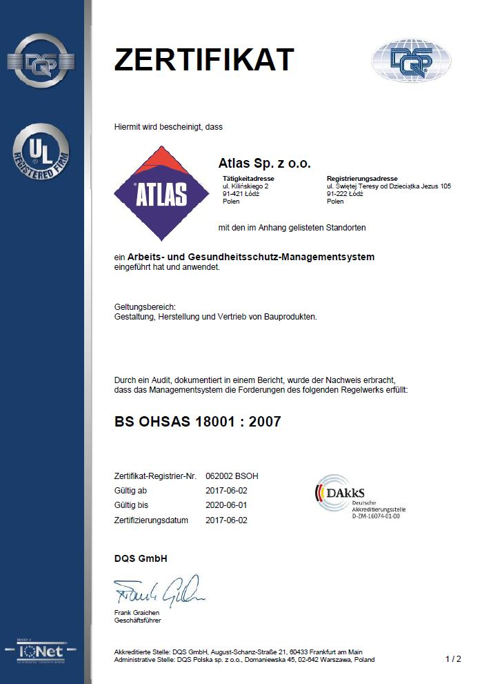ATLAS BS OHSAS 18001:2017