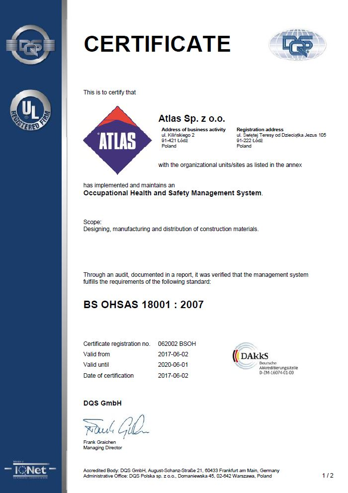 ATLAS BS OHSAS 18001:2007