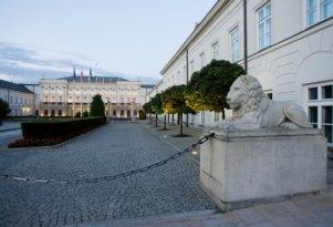 Lew przed pałacem Prezydenckim