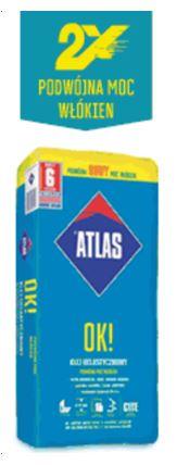 ATLAS OK! klej do płytek, temepratura stosowania do 30 stopni,  do płytek 60x40,  fugowanie ścian już po 12h, , brak spływu,  brak zapadania się płytki,